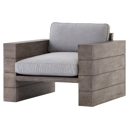 leroy cushioned grey teak wood outdoor sofa zin home