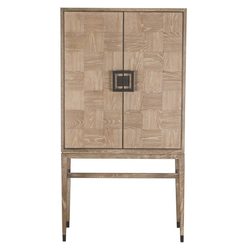 Art Deco Natural Oak Wood Bar Cabinet with Brass