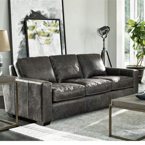 Oliver 3 Seat Wolf Grey Leather Sofa 91