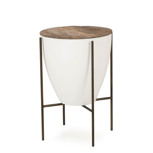 ... Resource Decor Danica Mid Century White Lacquered Round Side Table   17  Inch ...