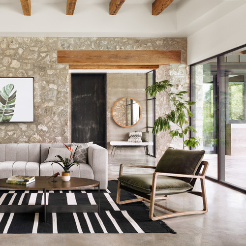 Ava Olive Green Fabric Oak Wood Living Room Arm Chair