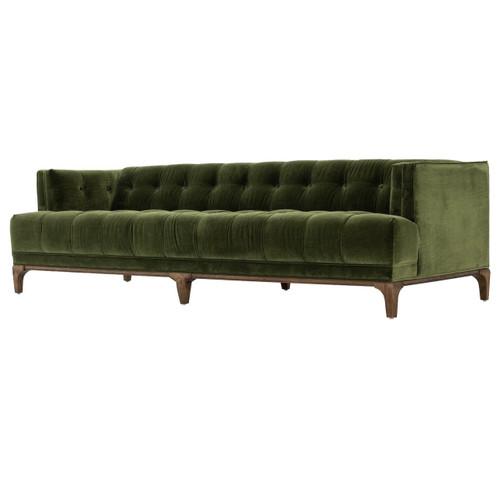 Dylan Mid-Century Modern Olive Green Velvet Tufted Sofa
