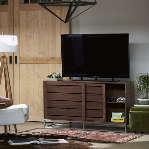 Urban Modern Walnut Sliding Door Media Cabinet 64 Zin Home
