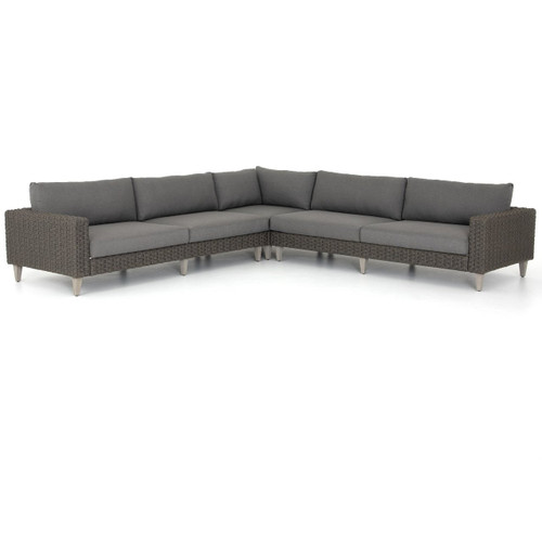 Remi Charcoal Woven Rope Outdoor 3 Pc Corner Sectional Sofa