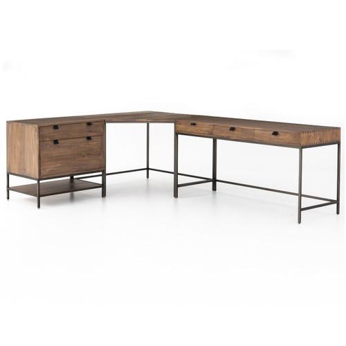 Fulton Industrial Modular Corner Desk With File Cabinet ...
