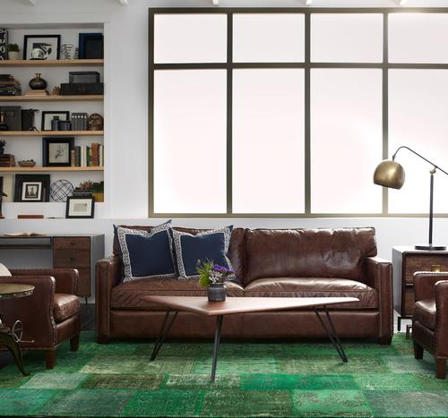 Larkin 3 Seater Vintage Cigar Distressed Leather Sofa ...