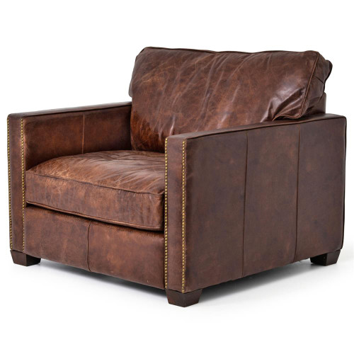 Ordinaire Larkin Vintage Cigar Distressed Leather Club Chair