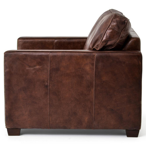 ... Larkin Vintage Cigar Distressed Leather Club Chairs; Hemingway Rustic  Lodge Cigar Brown Leather Brass Nailhead Armchair ...