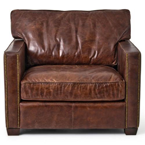 Delightful ... Larkin Vintage Cigar Distressed Leather Club Chairs ...