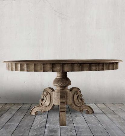 Parisian Vintage Oak Round Pedestal Dining Table 55 Quot Zin Home