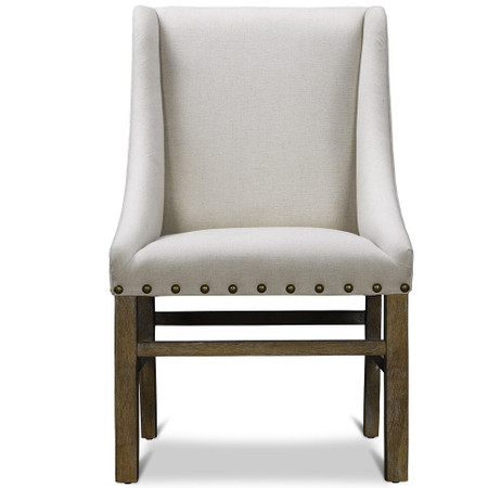 Nailhead Trestle Upholstered Dining Chair Belgian Linen