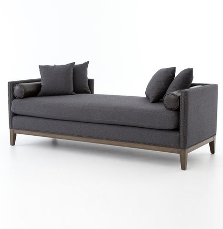 Kensington Charcoal Upholstered Double Chaise Daybed Zin