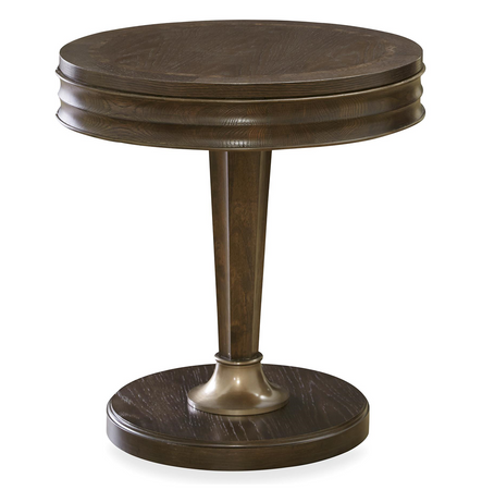 California Rustic White Oak 1 Drawer Round End Table Zin