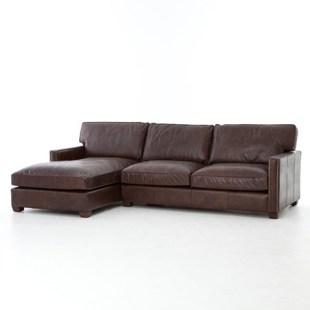 Larkin Vintage Cigar Leather Sectional Sofa With Chaise | Zin Home