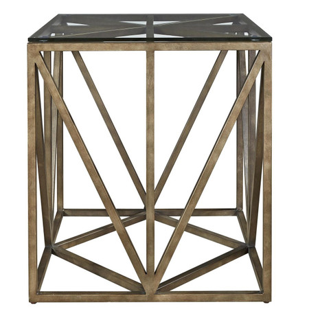 French Industrial Bronze Metal Amp Glass Square End Table 24 Quot