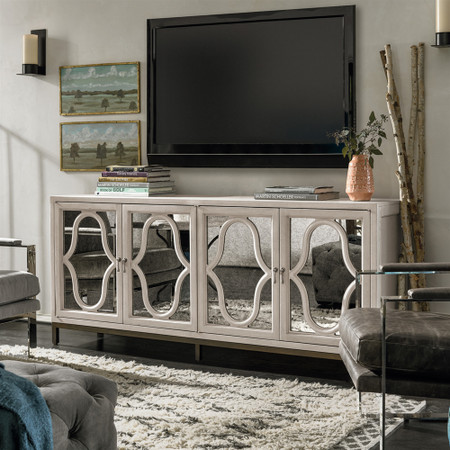 Belgian Cottage Mirrored Tv Media Stand Antiqued White