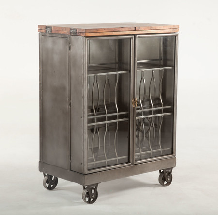 Steampunk Industrial Steel And Glass Bar Cart Cabinet