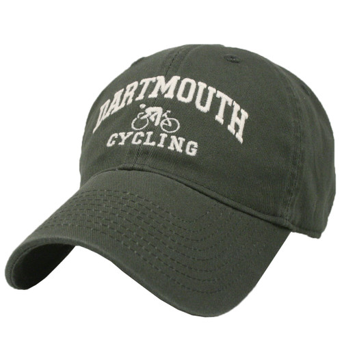 Green hat with 'Dartmouth Cycling' in white across the front