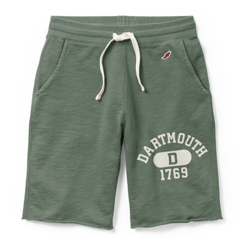Men's green shorts with 'Dartmouth D 1769' on the left leg in white