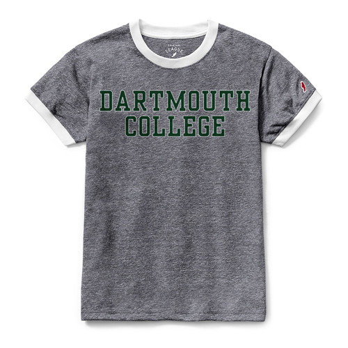 Women's grey short sleeve tee with white around the neck and sleeves and 'Dartmouth College' across the chest