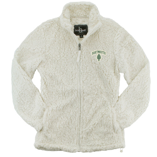 Women's white full zip sweatshirt with lone pine and 'Dartmouth' on left side in green