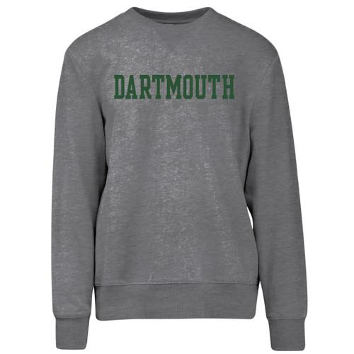 Grey crew neck sweatshirt with 'Dartmouth' straight across chest