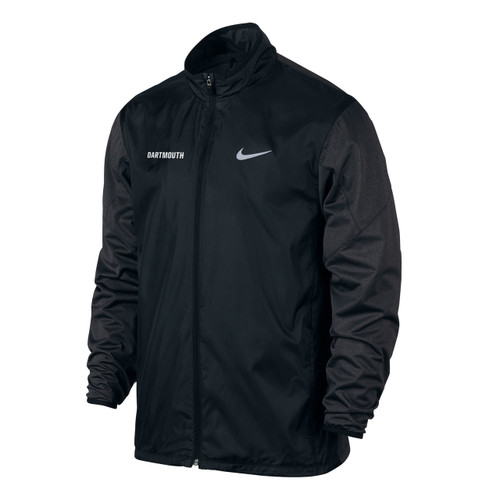 Nike black full zip windbreaker with small white 'Dartmouth' on right side and small white Nike swoosh on left side.