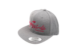 "TF-Works ""Splash"" Snapback Hat - Dark Heather Grey with Spicy-Red Logo"