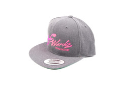 "TF-Works ""Splash"" Snapback Hat - Dark Heather Grey with Luminous-Pink Logo"