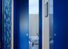 Eclisse Pocket Door Systems or bathrooms and toilets. This downstairs toilet door is both colourful and space-saving. The owners of this property have installed an Eclisse pocket door to make the most of a very small area for a downstairs toilet.