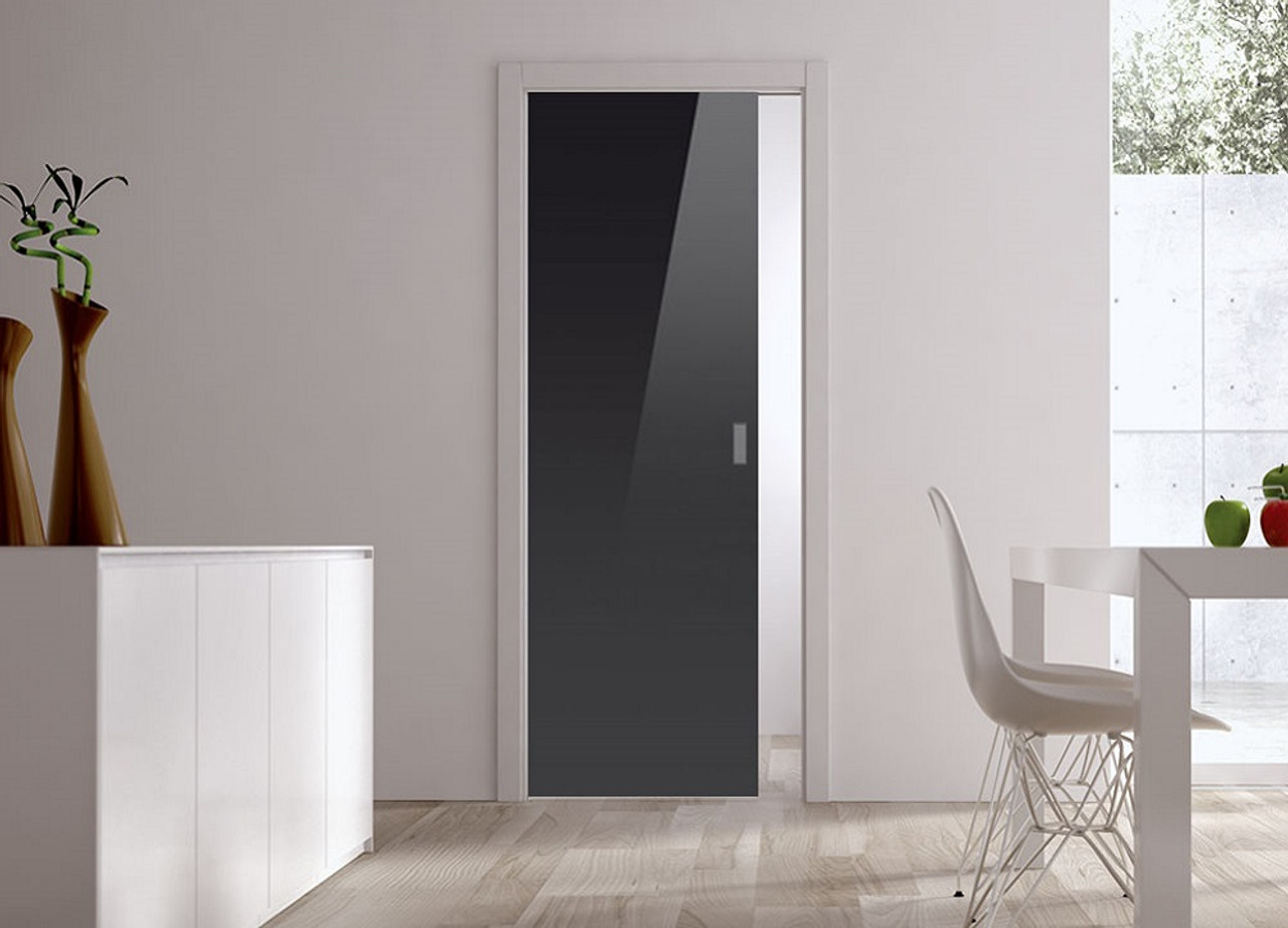 Classic 10mm Glass Pocket Door System Coloured Black Ral 9005