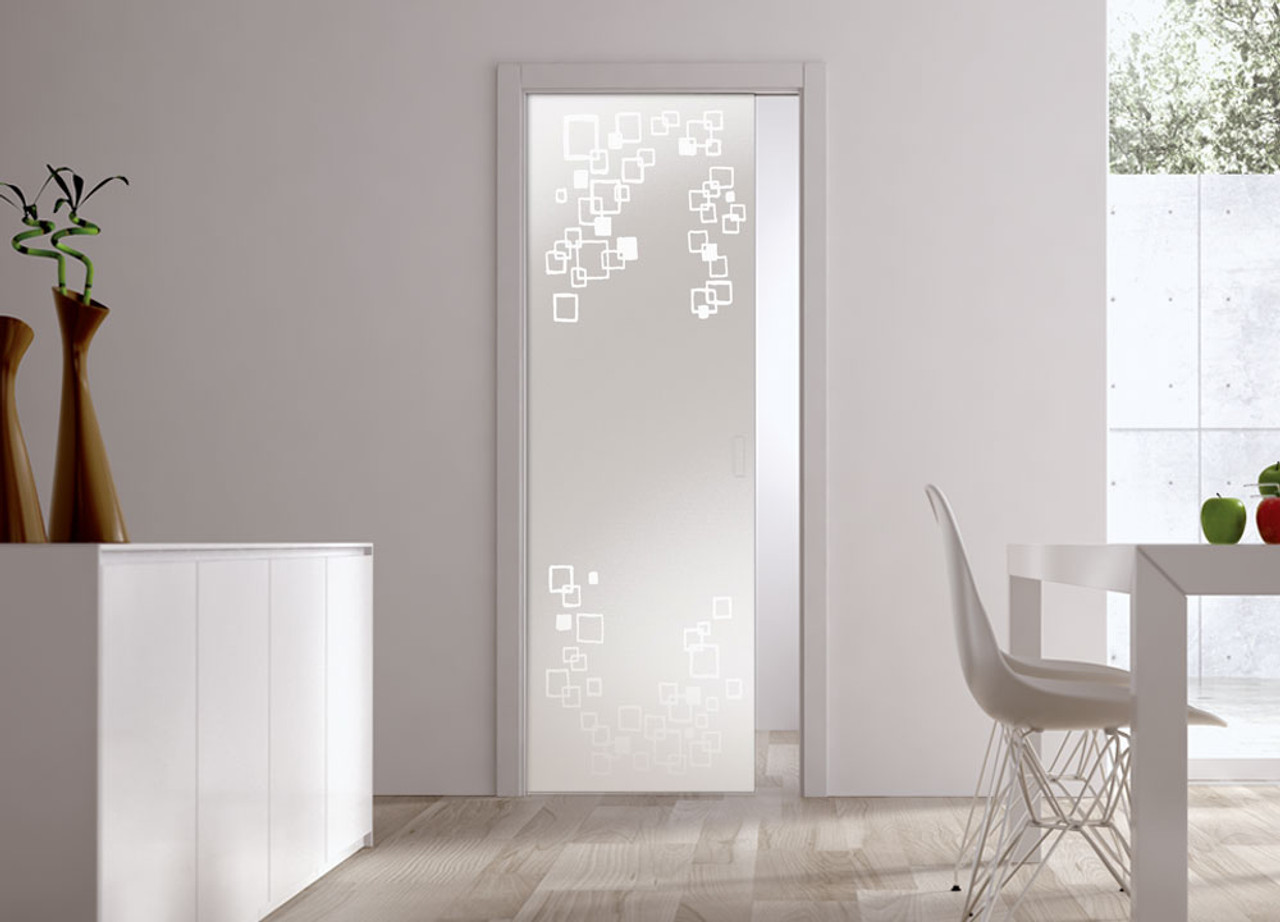 Classic 10mm Glass Pocket Door System Patterned Riflessi Eclisse Uk
