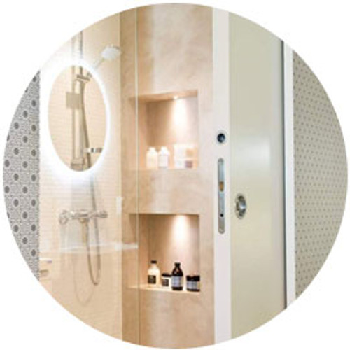 Eclisse Pocket Doors for Bathrooms  : A small bathroom or en-suite doesn't have to be cramped