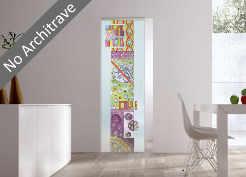 Syntesis® Flush Glass Pocket Door System Handpainted GARDEN