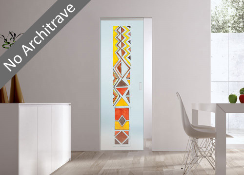 Syntesis® Flush Glass Pocket Door System Handpainted AFRO