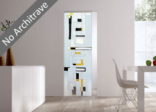 Syntesis® Flush Glass Pocket Door System Handpainted CITY