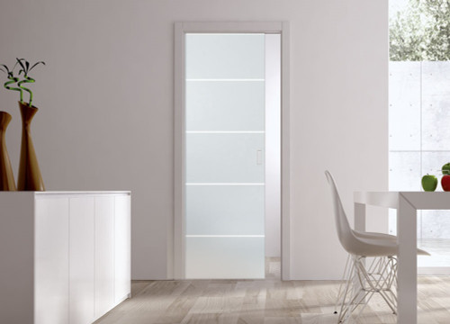 Classic Glass Pocket Door System Patterned RIGHE