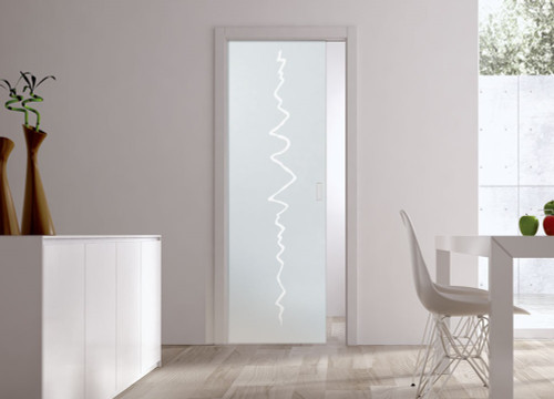 Classic Glass Pocket Door System Patterned CRASH