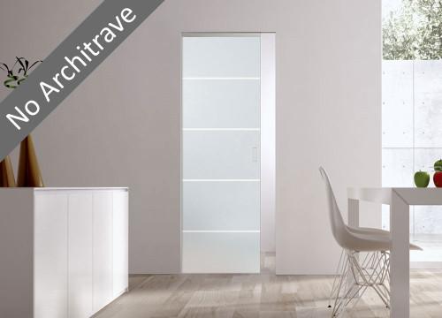 Syntesis® Flush  Glass Pocket Door System Patterned RIGHE
