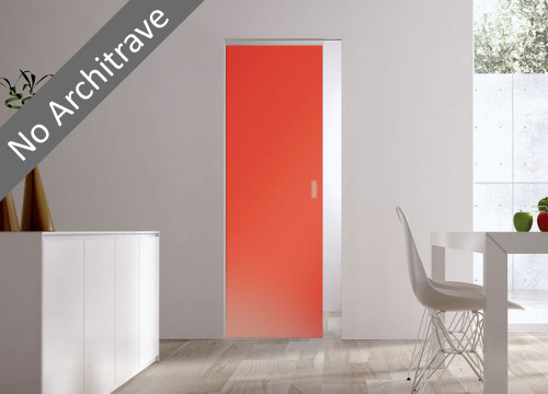 Syntesis® Flush Glass Pocket Door System Coloured SATIN ORANGE