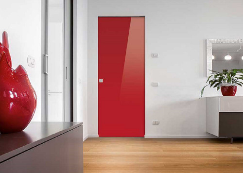 Syntesis 174 Flush Glass Pocket Door System Coloured Red Ral
