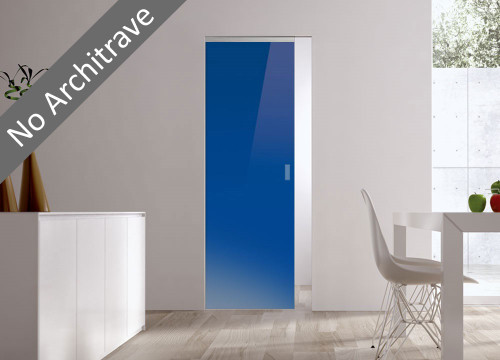 Syntesis® Flush Glass Pocket Door System Coloured BLUE (RAL 5002)