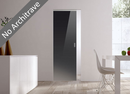 Syntesis® Flush Glass Pocket Door System Coloured BLACK (RAL 9005)