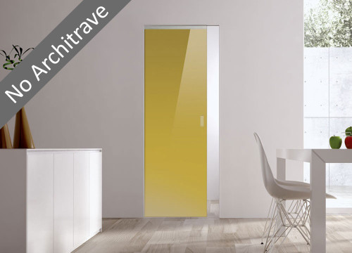 Syntesis® Flush Glass Pocket Door System Coloured YELLOW-GREEN (RAL 1027)