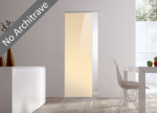 Syntesis® Flush Glass Pocket Door System Coloured BEIGE (RAL 1015)