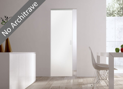 Syntesis® Flush Glass Pocket Door System Coloured WHITE (RAL 9010)