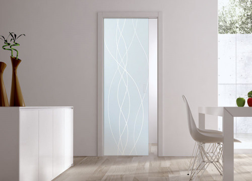Classic 10mm Glass Pocket Door System Patterned ANOUCHE