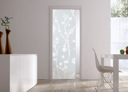 Classic 10mm Glass Pocket Door System Patterned BLUMA