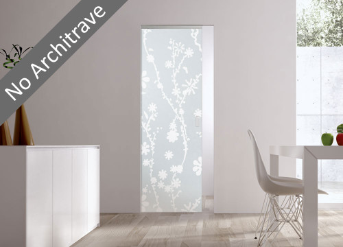 Syntesis® Flush Glass Pocket Door System Patterned BLUMA