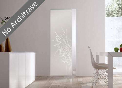 Syntesis® Flush Glass Pocket Door System Patterned GREEN